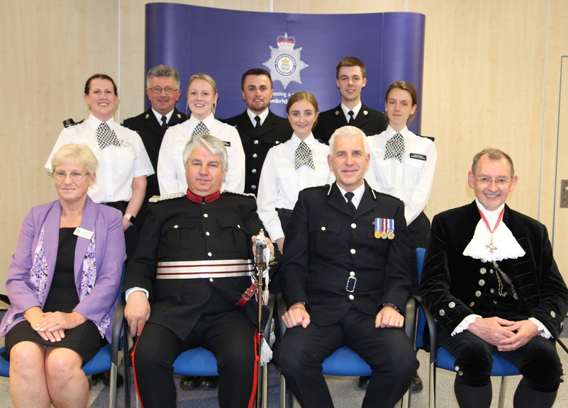 Back row: PCs Louise Henry, Simon Anker, Charlie Mitton, Dougie McColm, Alex Moreton, Adam Catling and Eleanor Bacchus. Front row: Niki Howard, director of finance, Richard Barnwell, Vice Lord-Lieutenant of Cambridgeshire, Chief Constable Alec Wood and Dr Andrew Harter, High Sheriff of Cambridgeshire