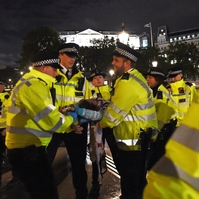 Point of arrest: Another protester ejected from Trafalgar Square in London