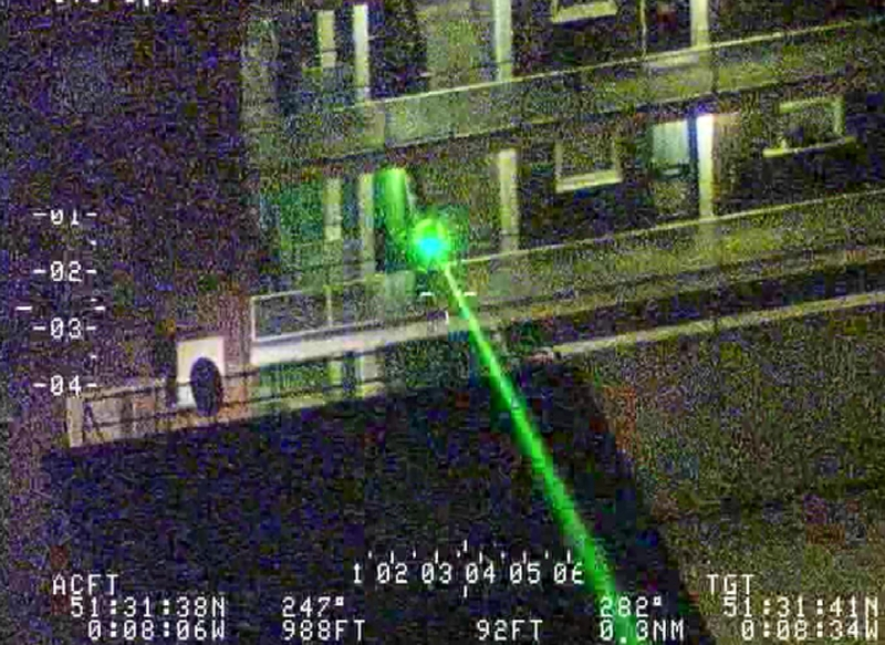 Laser being pointed at an NPAS helicopter (PA)