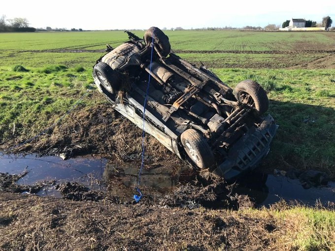 Rural crime: a Jeep abandoned by illegal hare coursers in cambridgeshire