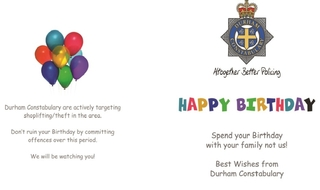 'We will be watching you': Criminals receive birthday cards from force