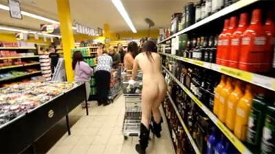Naked Shoppers Storm Supermarket