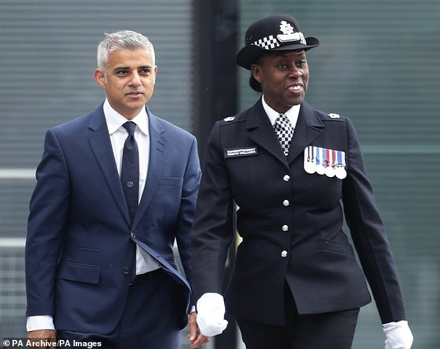 High profile: Supt Novlett Robyn Williams with London Mayor Sadiq Khan at a Met Passing out parade in 2016
