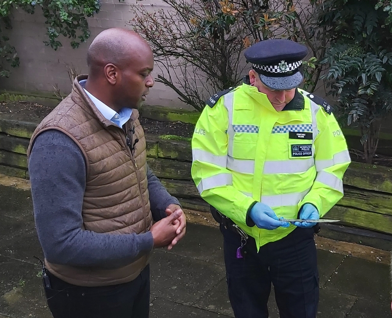 Mayor Candidate Shaun Bailey at a successful weapon sweep in Stoke Newington