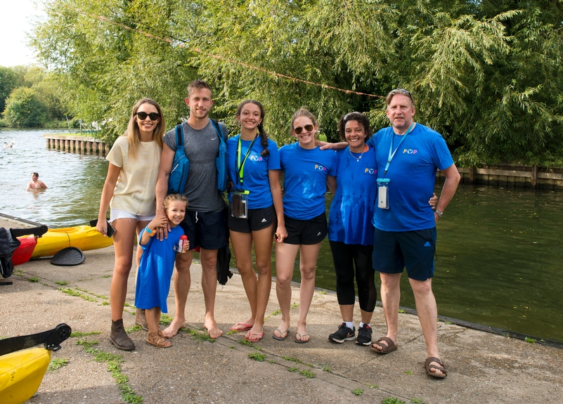Paul Adams (far right) with his family at the charity's canoe event from Oxford to Windsor