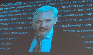 Julian Assange during his conference