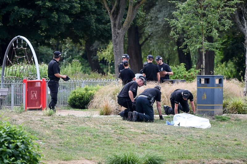 Police conducting fingertip searches of Queen Elizabeth Gardens, Salisbury (PA)
