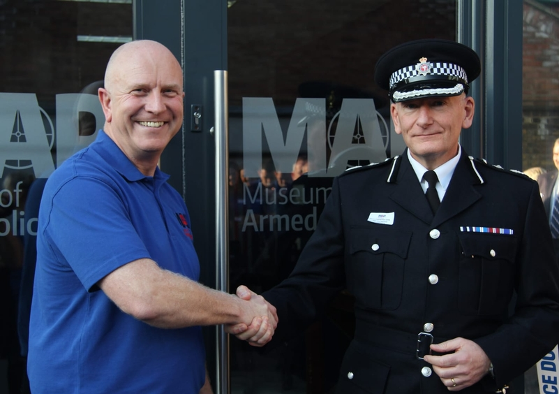 Firearms lead DCC Simon Chesterman and PFOA CEO Mark Williams at the opening of the Museum of Armed Policing in Chatteris