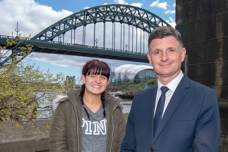 Bridging the gap: DS Shaun Fordy and Lauren Boyle with the Tyne Bridge in the background