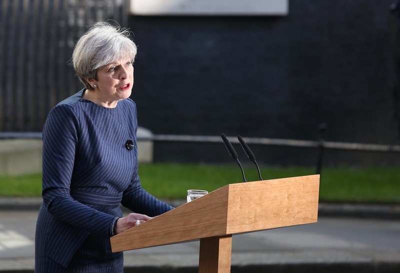 Theresa May announcing the general election. Photo: Philip Toscano/PA Wire