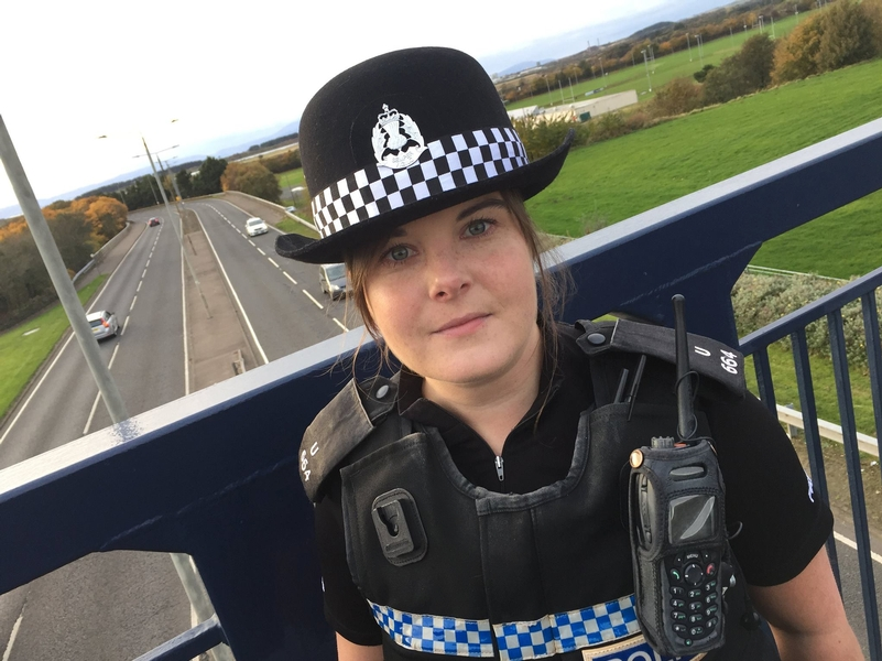 PC Kirsty Roberston on the bridge where she saved the life of a vulnerable woman