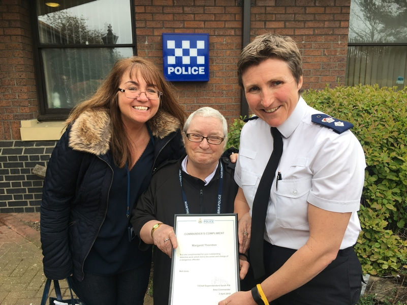 One of us: Margaret Thornton (centre) with Northumbria Police nurse Shaleen (left) and Chief Superintendent Sarah Pitt