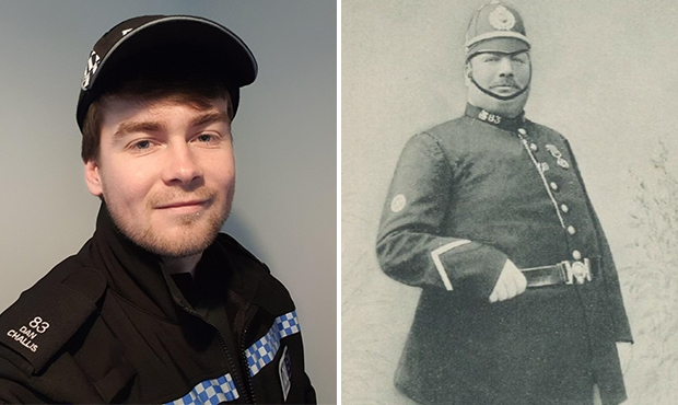 New officer receives relative's 100-year-old collar number