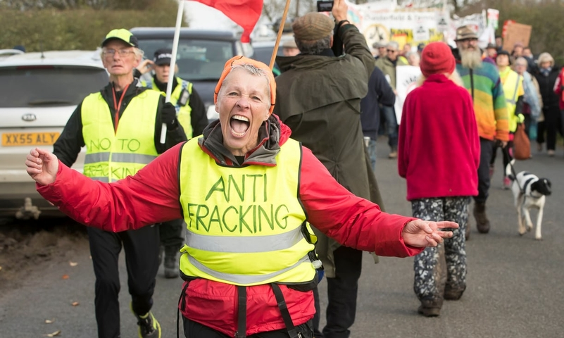 An anti-fracking march on 4 November from Kirby Misperton to the nearby fracking site. Photograph: Danny Lawson/PA