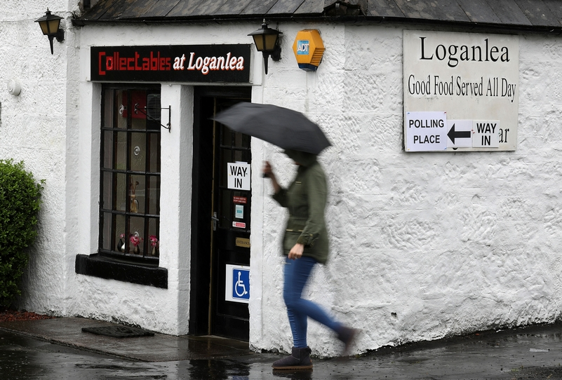 Going to the polls: Voters at Loganlea Restaurant in Forest Mill in Clackmannanshire