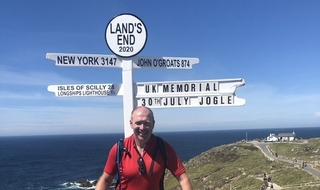 End of the road: Paul Griffiths at the end of his 950-mile bike ride