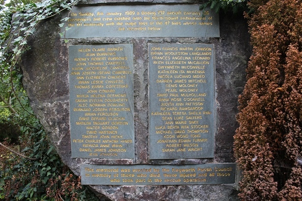 Kegworth remembered: Names of 47 victims on the memorial stone