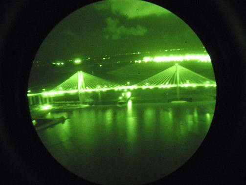 View of Severn Bridge through night vision goggles
