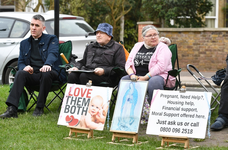 Pro-life demonstrators outside the Marie Stopes clinic on Mattock Lane John Stillwell/PA Wire