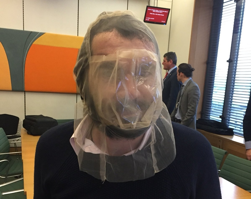 Royston in a spit guard