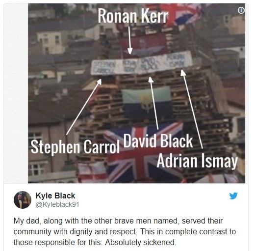 'Absolutely sickened': Murdered prison officer David Black's son Kyle posts a tweet of Bogside bonfire placards