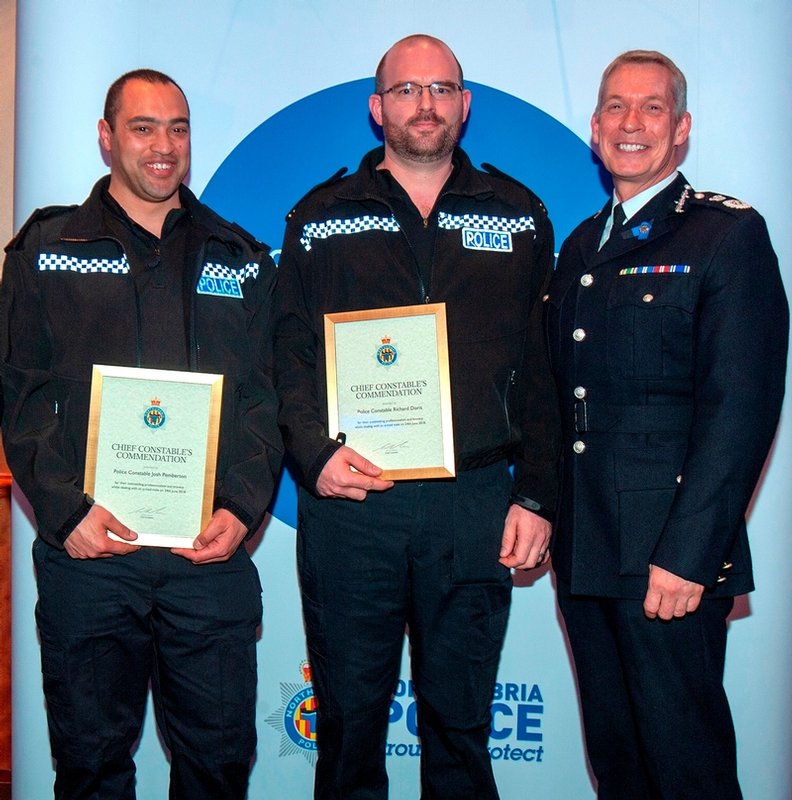 From left to right: PC Pemberton, PC Doris, and Chief Constable Winton Keenen