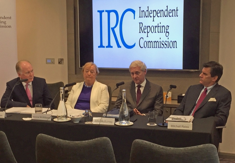 Impacting: From left, IRC members Tim O'Connor, Monica McWilliams, John McBurney and Mitchell Reiss discuss lack of a devolved government at Stormont effecting efforts to combat the terror gangs