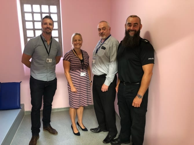 In the pink: Change of emphasis with, from the left, Sergeant Dave Williams, Superintendent Katy Barrow-Grint, former Chief Inspector Dave Cherrington, Inspector Dave Entwistle