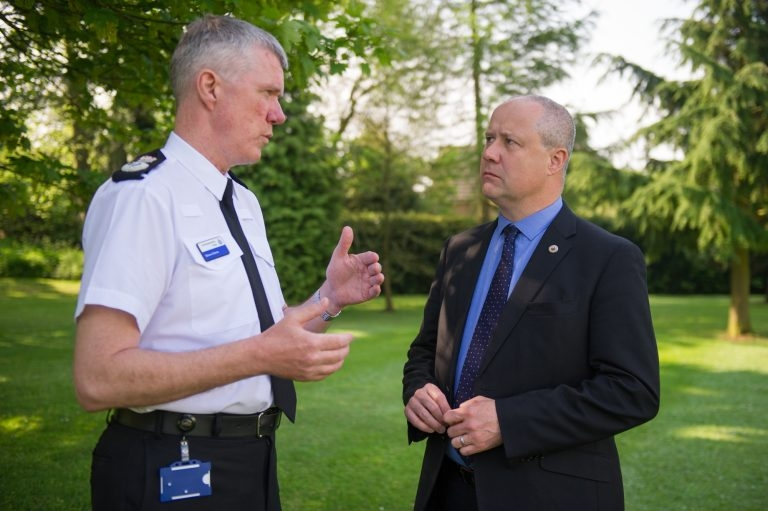 Chief Constable Simon Edens, left, is to retire