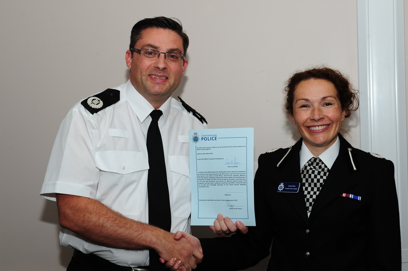 Special appointment: Chief officer Tony Athersmith with Staffordshire ACC Jenny Sims