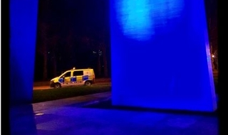 The National Police Memorial specially illuminated at the Mall in London