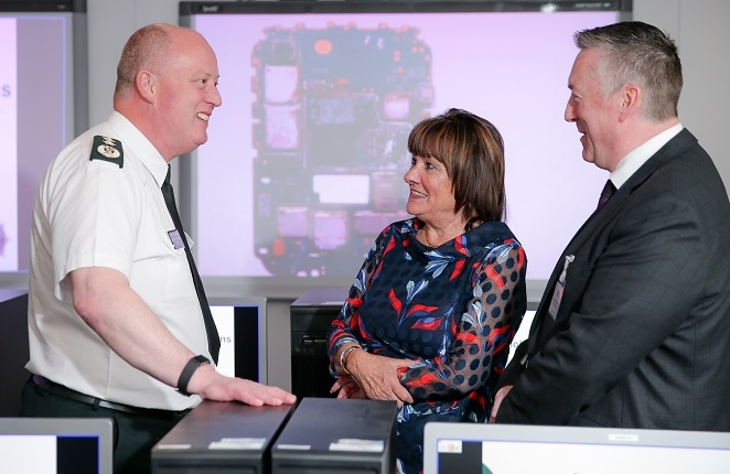 Open for business: CC George Hamilton, left, Anne Connolly and cyber crime unit head Detective Superintendent Richard Campbell