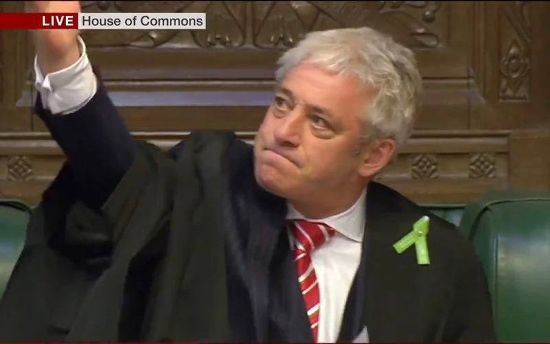 Commons Speaker John Bercow welcomes the officers (Pic: via BBC)