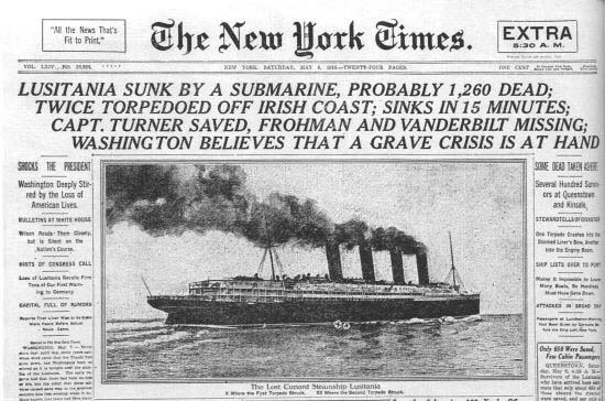 The New York Times article reporting on Lusitania sinking
