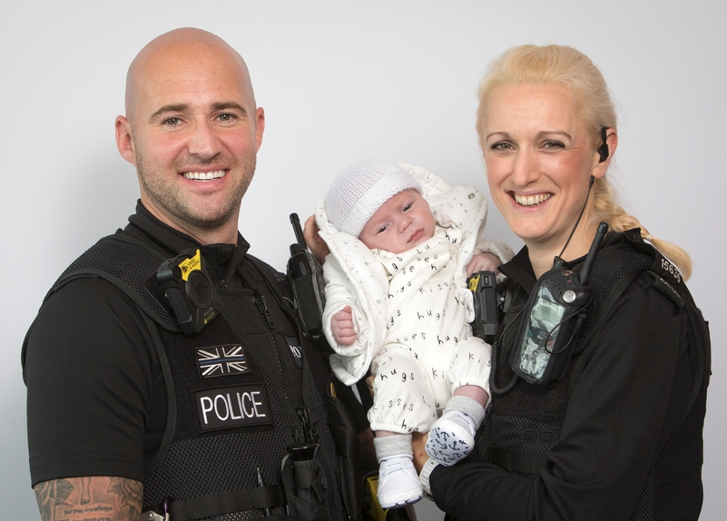 PC Kieran Sweeney and PC Claire Slater with Isaac