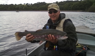 Kevin Pearson fishing in a resevoir in Derbyshire