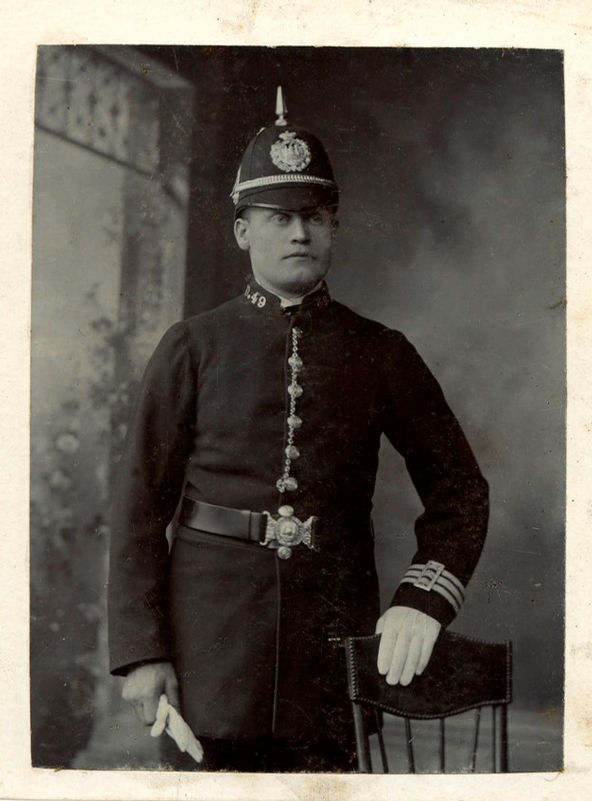 PC Charles Gunter, who died in 1901 after being hit on the head by a brick thrown by Peaky Blinder gang members is one of the recently found missing pictures.