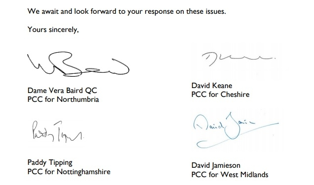 The letter was signed by Labour Police and Crime Commissioners.