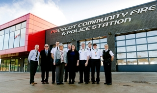 Deputy Chief Constable Carl Foulkes (3rd left) , PCC Jane Kennedy and Deputy PCC Cllr Emily Spurrell (centre)