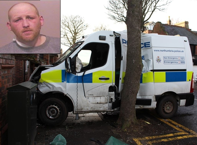 End of the road: The smashed police dog van and, inset, John McCabe  who was jailed for 58 months