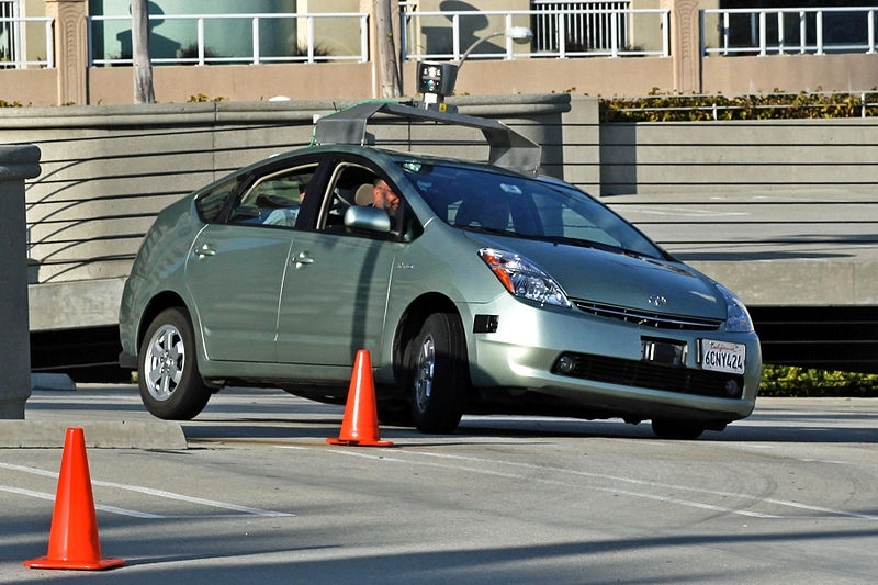 Pictured is a modified Toyota Prius used as a Google driverless car
