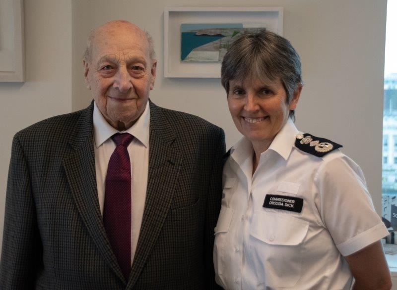 Retired PC Reginald Dunn with Metropolitan Police Commissioner Cressida Dick