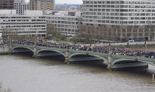 Police join public on Westminster Bridge to mark one week since terrorist attack