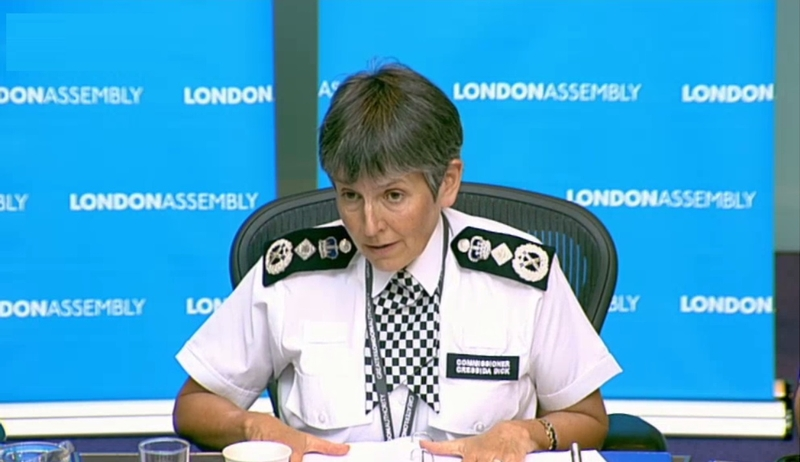 Commissioner Cressida Dick at a recent London Assembly meeting
