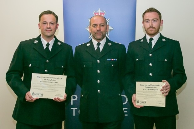 PC James McQuaid, Chief Superintendent Mark Holland, PC Simon Williams