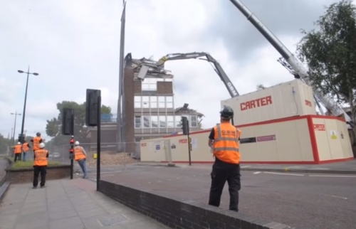 Police station demolished to become... a temporary car park