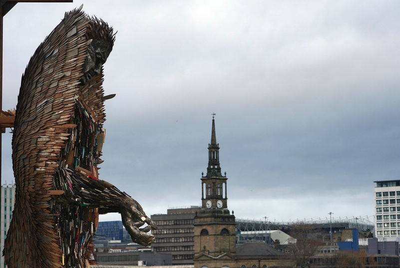 The Knife Angel is a sculpture made from 100,000 seized blades. It has been erected in Gateshead