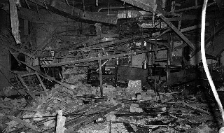 Wreckage left at the Mulberry Bush pub in Birmingham in November 1974. Picture: PA Wire
