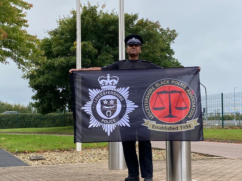 In unity: Inspector Yakub Ismail with the BPA flag