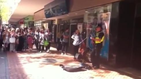 Busking bobby of Birmingham belts out hits